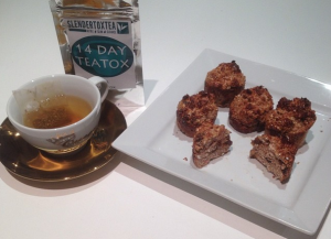 Detox Tea which helps weight loss natural, with healthy protein cakes to help slimming diets